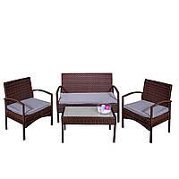 Комплект садовой мебели плетеной из ротанга AGOSTAN (коричневый)