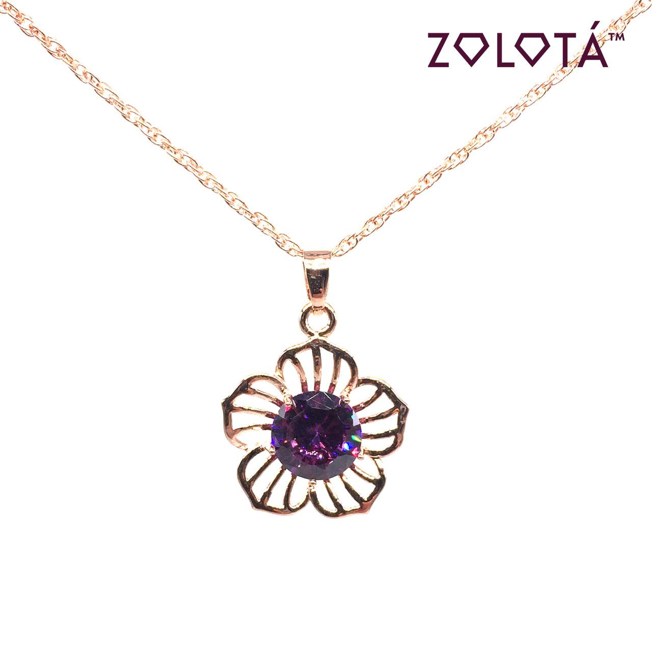 Подвеска на цепочке с фиолетовым фианитом (куб. цирконием), из медицинского золота, в позолоте, ЗЛ00173 (1)