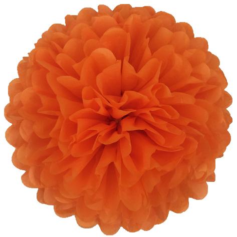 Бумажный помпон тишью 15 см оранжевый