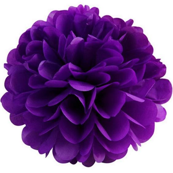 Бумажный помпон из бумаги 15 см фиолетовый