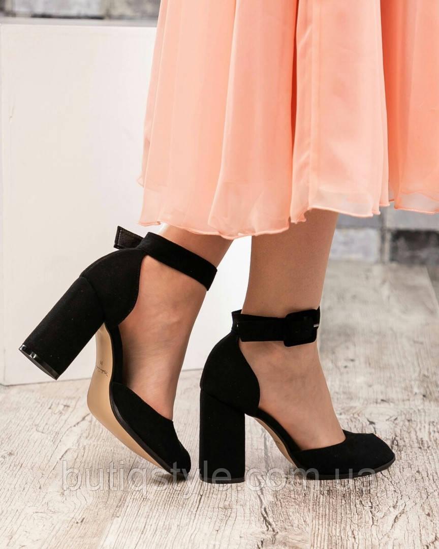 38 размер Туфли женские черные с ремешком на широком каблуке натур.велюр