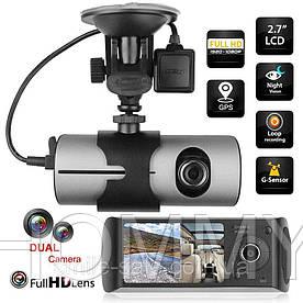 Видеорегистратор на 2 камеры R300 GPS+G-сенсор