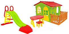 Детский домик Mochtoys 190*118*127см + столик стулом + горка 180 см Польша