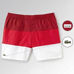 Пляжные шорты Lacoste, шорты Лакоста, мужские, плавательные, летние, красные и белые