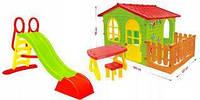 Детский домик Mochtoys 190*118*127см + столик и кресла + горка водяная Польша