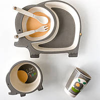 Детская бамбуковая посуда набор из 5 предметов Слоненок