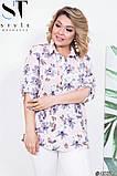 Летняя женская блуза в цветочный принт размеры 50-52, 54-56, фото 2