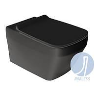 Унитаз черный матовый безободковый подвесной Simas Baden Baden BB18 с плавным сиденьем, фото 1