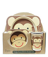 Набор детской эко посуды из бамбукового волокна 5 предметов Обезьянка коричневая