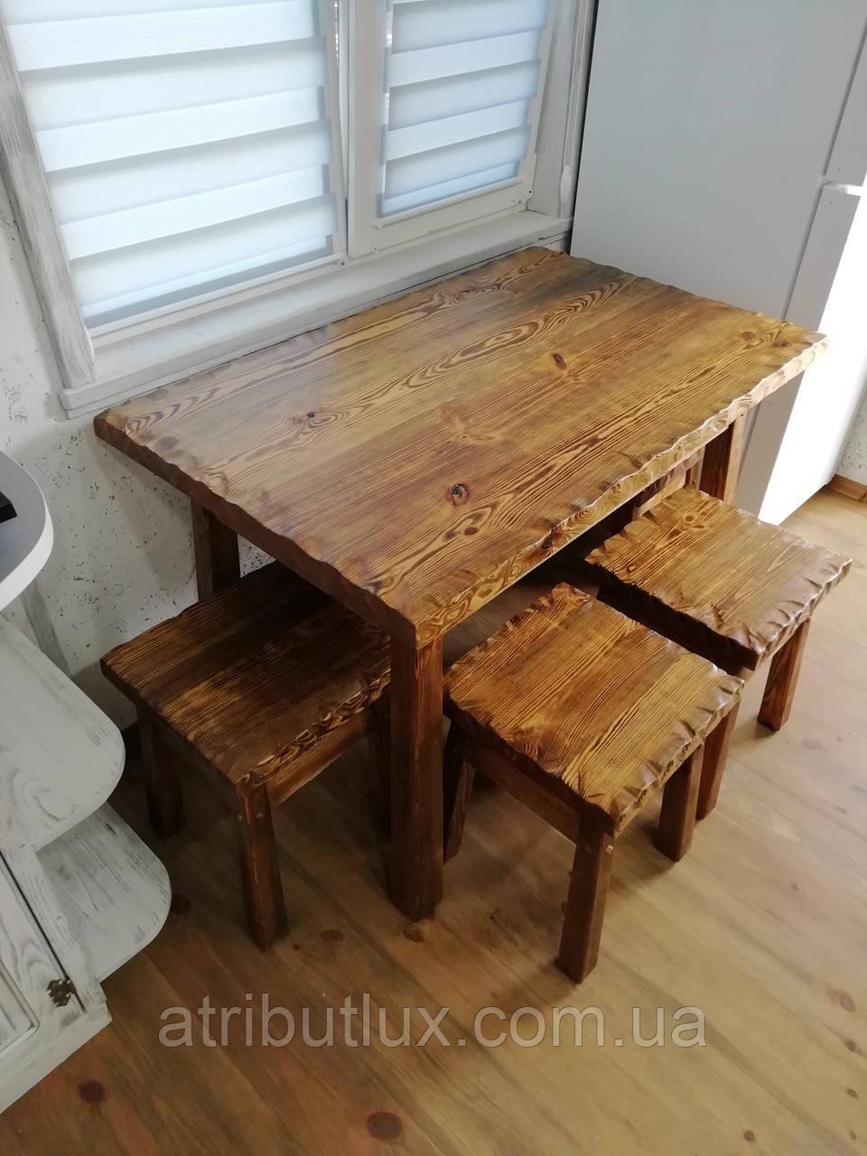 Комплект стола со стульями из массива сосны от производителя. 110х70