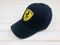 Мужская кепка Ferrari, кепка Феррари, спортивная, бейсболка, каттон, черная