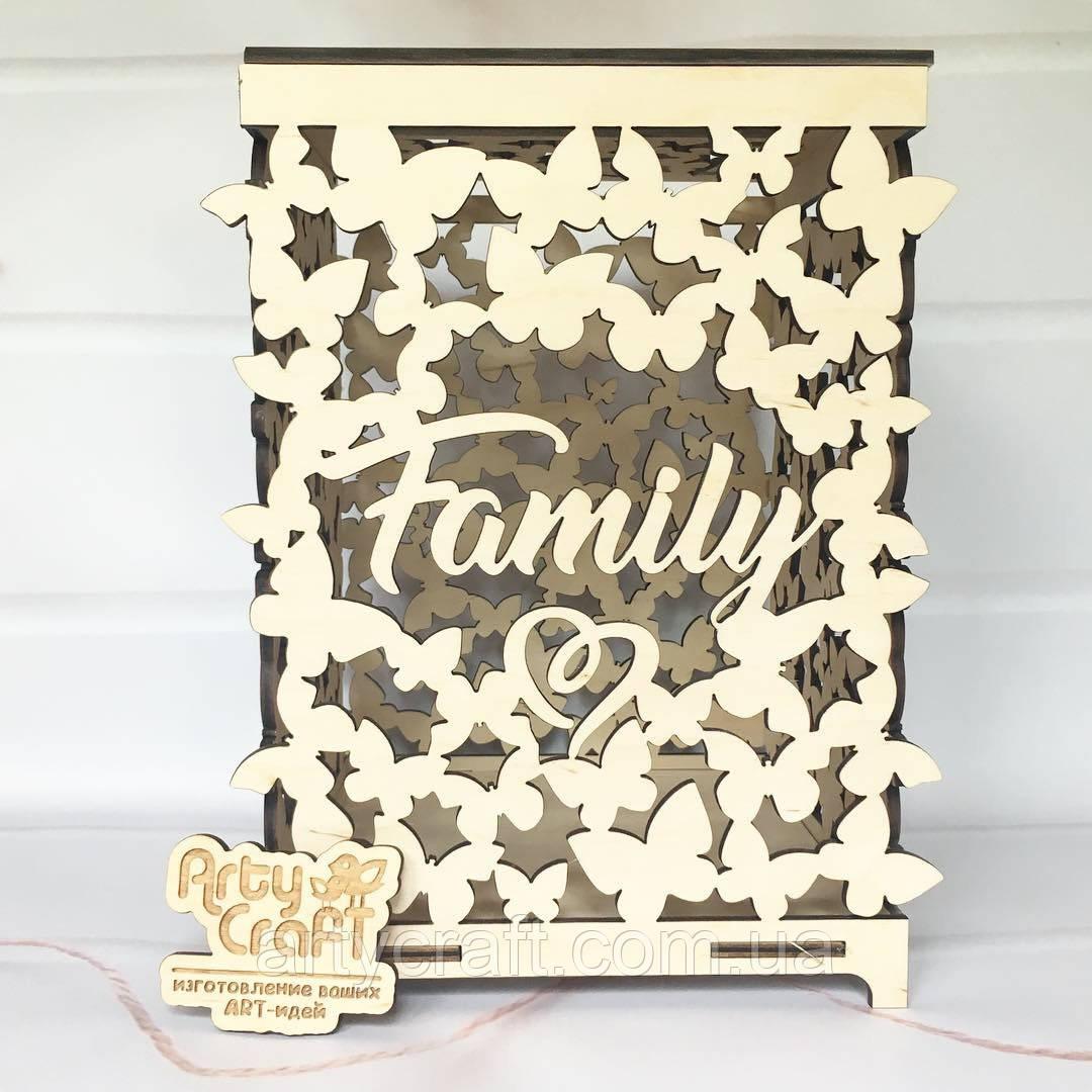 Свадебная коробка для денег на свадьбу Family 25x20x18 cм светлое дерево