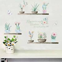 """Наклейка на стену, виниловые наклейки """"8 цветков кактусы в горшках"""" (лист30см*90см)"""