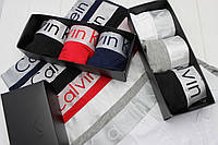 Мужские трусы боксеры шорты транки брендовые в подарочной упаковке модель STEEL 3шт хлопок/модал