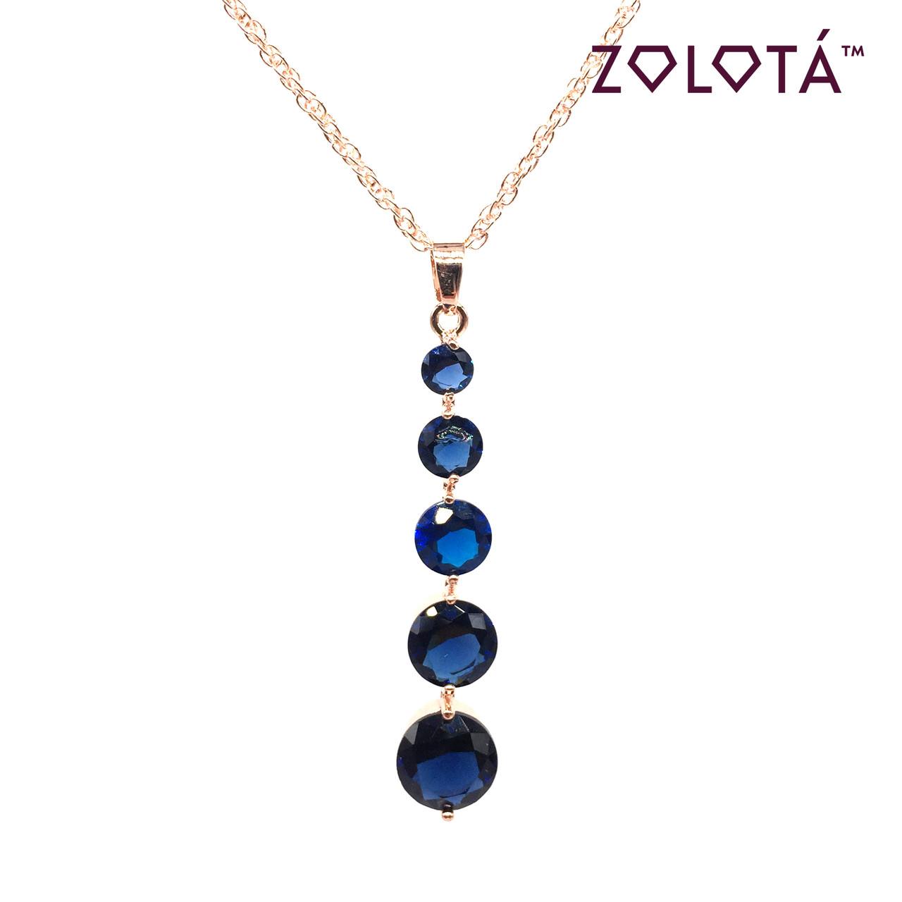 Подвеска на цепочке с синим фианитом (куб. цирконием), из медицинского золота, в позолоте, ЗЛ00177 (1)