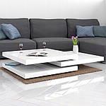 Столик кофейный 60x60 см вращающейся белый, фото 8