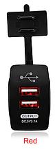 Автомобильное зарядное гнездо прямоугольное врезная розетка 2 USB (12-24В) 5В/3.1A красная подсветка