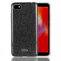 Чехол Shining Glitter для Xiaomi Redmi 6a с блестками черный