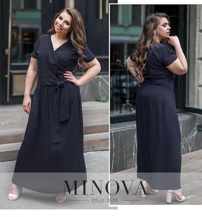 Платье-макси летнее из штапеля большого размера  цвет темно-синий ТМ Minova Размеры: 50,52,54,56, фото 2