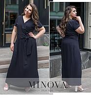 Платье-макси летнее из штапеля большого размера цвет темно-синий ТМ Minova Размеры: 50,52,54,56
