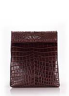 Кожаная сумка-клатч Коричневая Крокодил