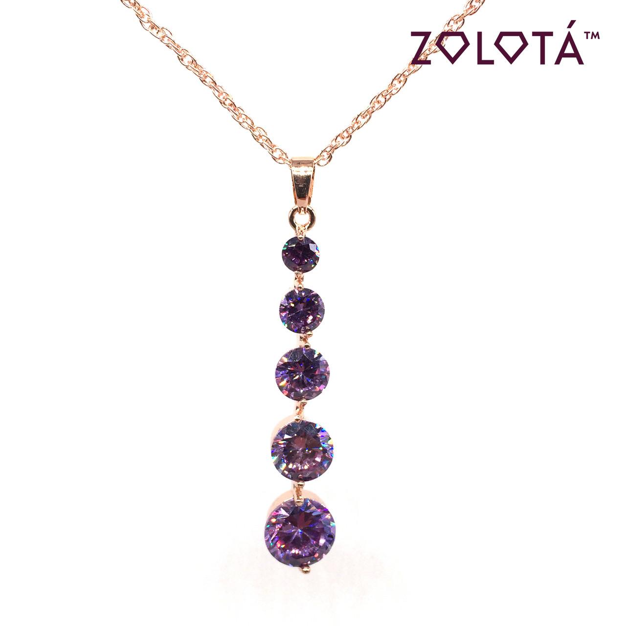 Подвеска на цепочке с фиолетовым фианитом (куб. цирконием), из медицинского золота, в позолоте, ЗЛ00180 (1)