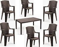 Набор садовой мебели Prince 1 стол + кресло Eden 6 шт производство Италия цвет Коричневый и антрацит