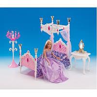Мебель для кукол Спальня принцессы Gloria 1214  кровать, столик, зеркало