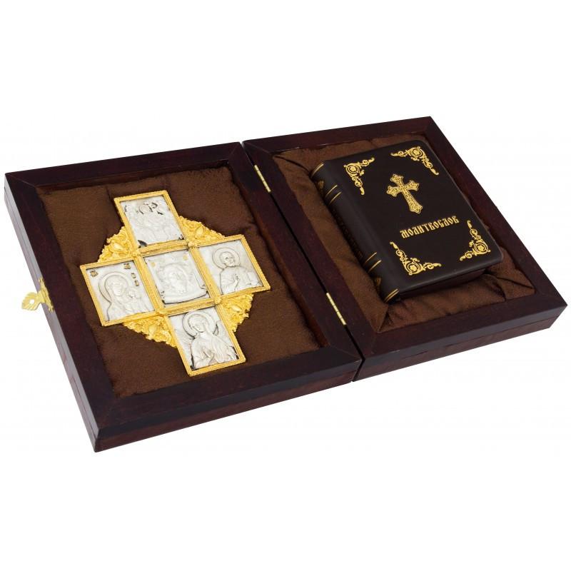 Молитвослов в кожаном переплете и подарочной коробке с Православным крестом со святыми