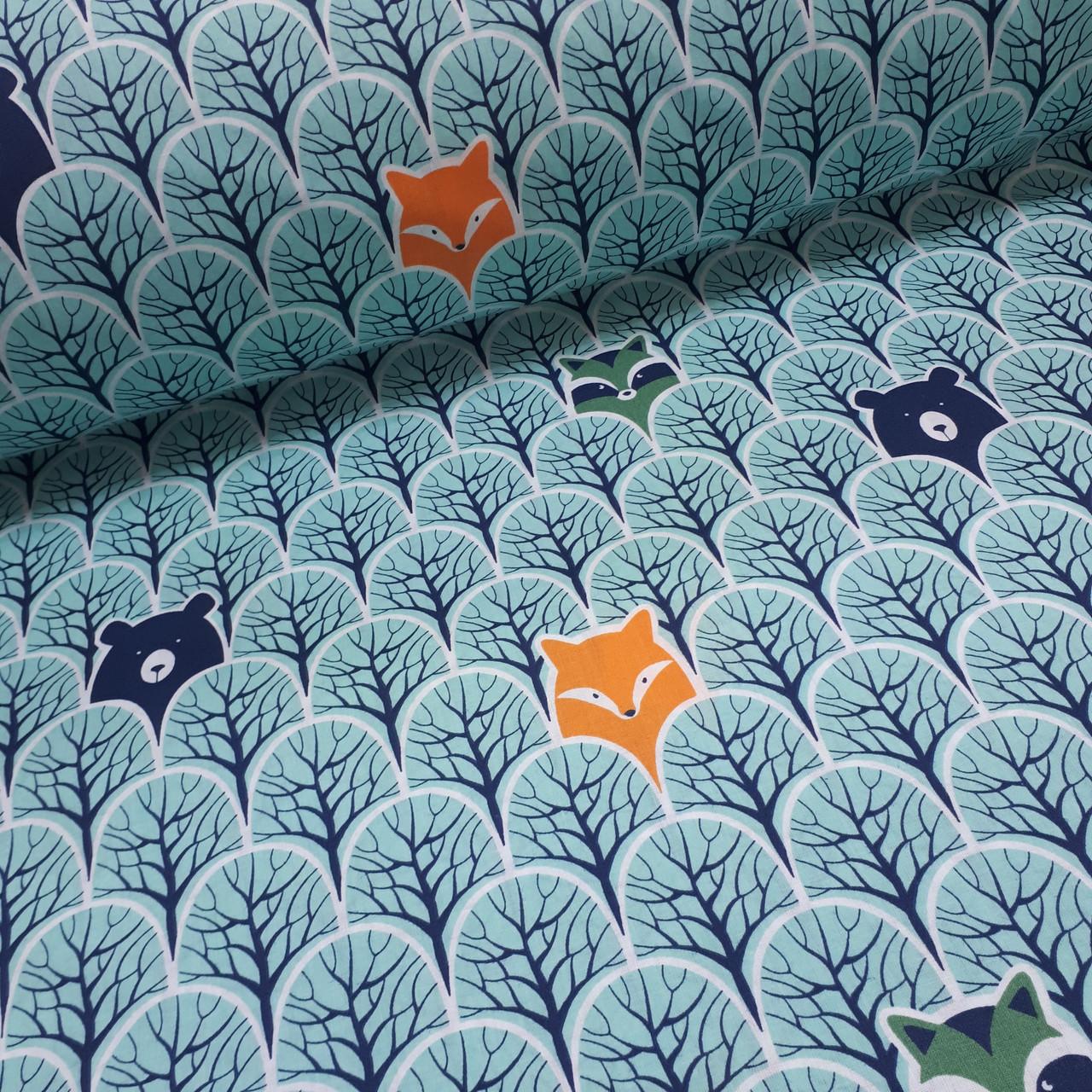 Ткань польская бязь, лисы оранжевые и мишки темно-синие в бирюзовом лесу