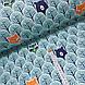 Ткань польская бязь, лисы оранжевые и мишки темно-синие в бирюзовом лесу, фото 2
