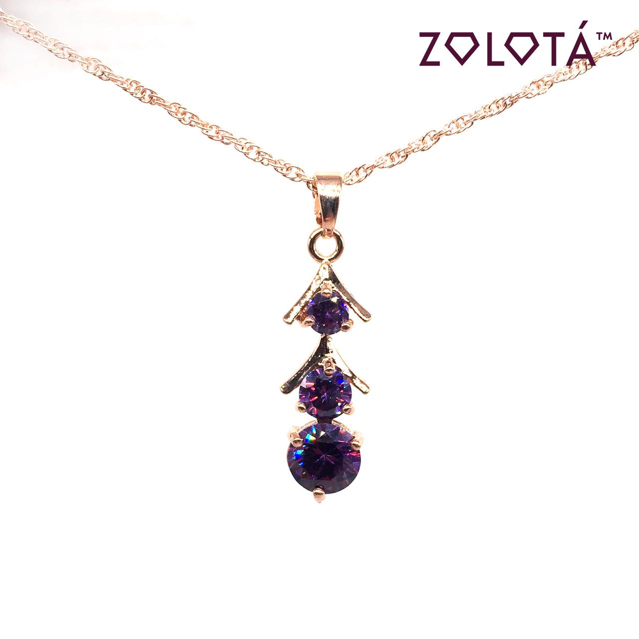 Подвеска на цепочке с фиолетовым фианитом (куб. цирконием), из медицинского золота, в позолоте, ЗЛ00187 (1)