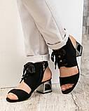 Высокие босоножки  женские на завязках  черные, фото 2