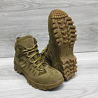 Ботинки тактические летние, термопосадка подошвы, кожаные+сетка, Outdoor 4с койот, фото 1