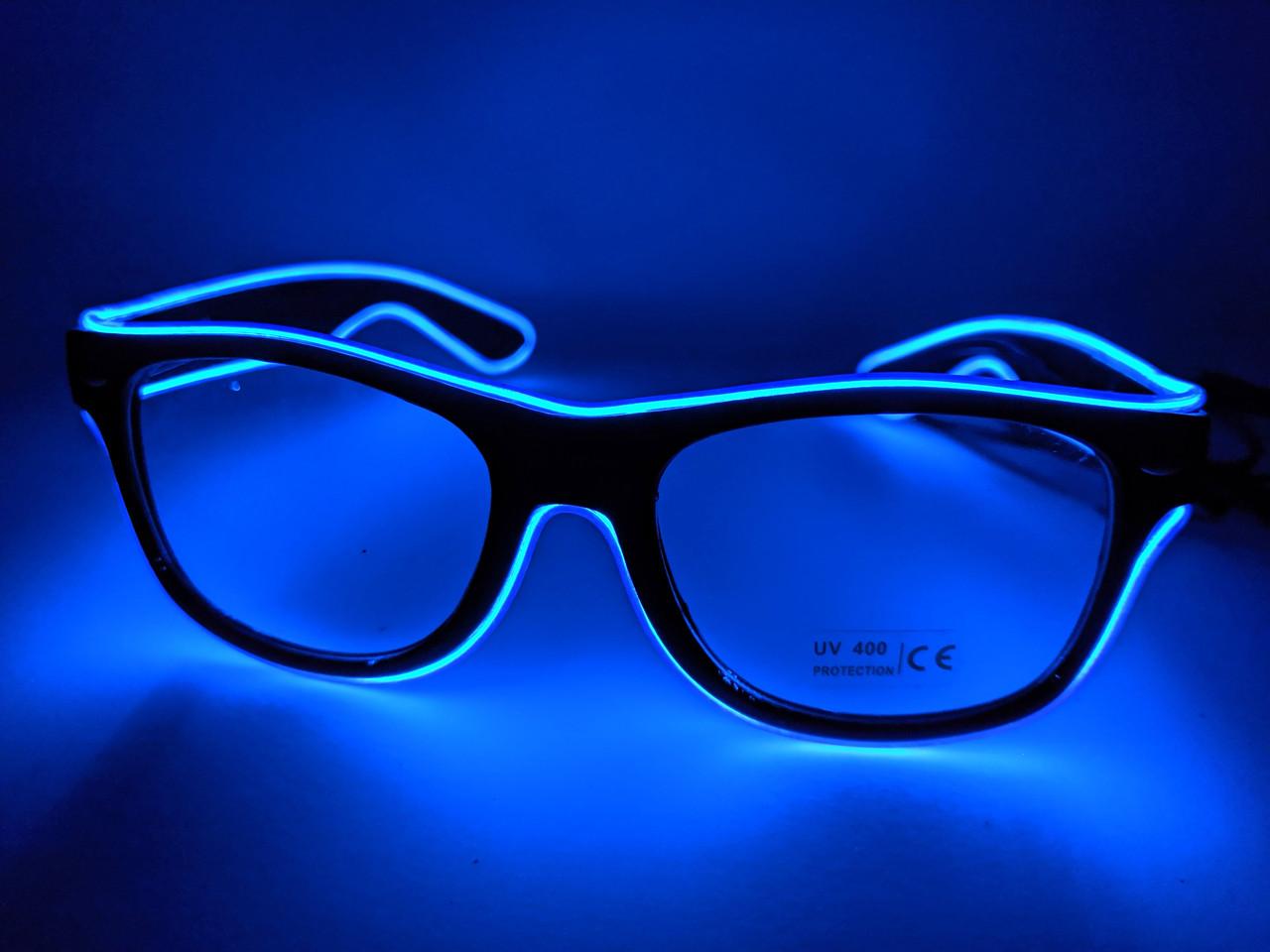 Светящиеся светодиодные неоновые очки для вечеринок синие