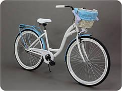 Велосипед женского города Goetze BLUEBERRY 28 корзина !!!Цвет бело-голубой