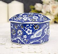 Старая фарфоровая синяя шкатулка с птицей, фарфор, Германия?, фото 1