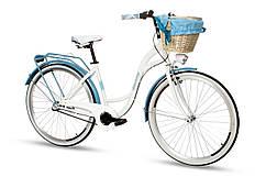 Велосипед женский город Goetze BLUEBERRY 28 3b корзина! бело-голубой