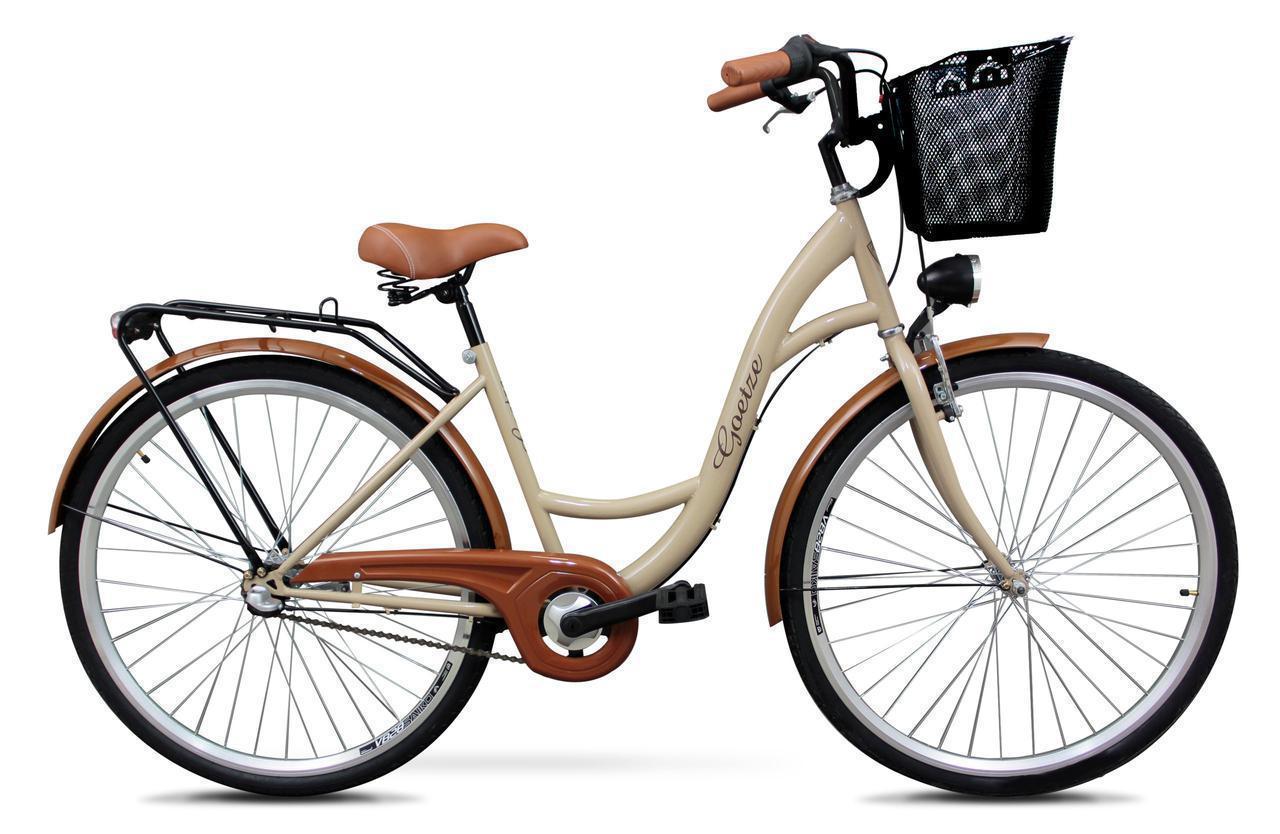 Женский городской велосипед GOETZE 28 3biegi корзина бесплатно! Цвет - капучино