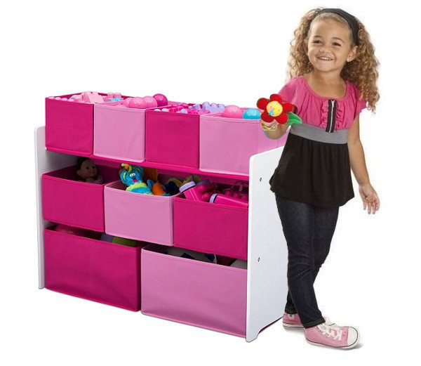 Розовый органайзер для игрушек, полка с ящиками