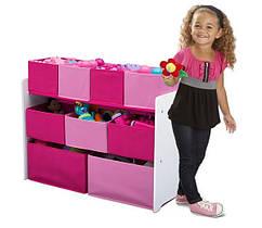 Рожевий органайзер для іграшок, полиця з ящиками