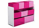 Розовый органайзер для игрушек, полка с ящиками, фото 3