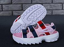Сандали женские (Фила) Fila Disruptor (розовые) Top replic, фото 2