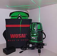Лазерный уровень Wosai 5 линий зеленый луч-50m+Li-ion акумулятор