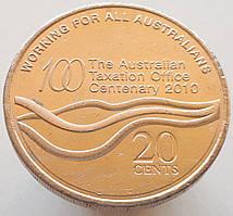 Австралия 20 центов 2010 - 100 лет налоговому Управлению