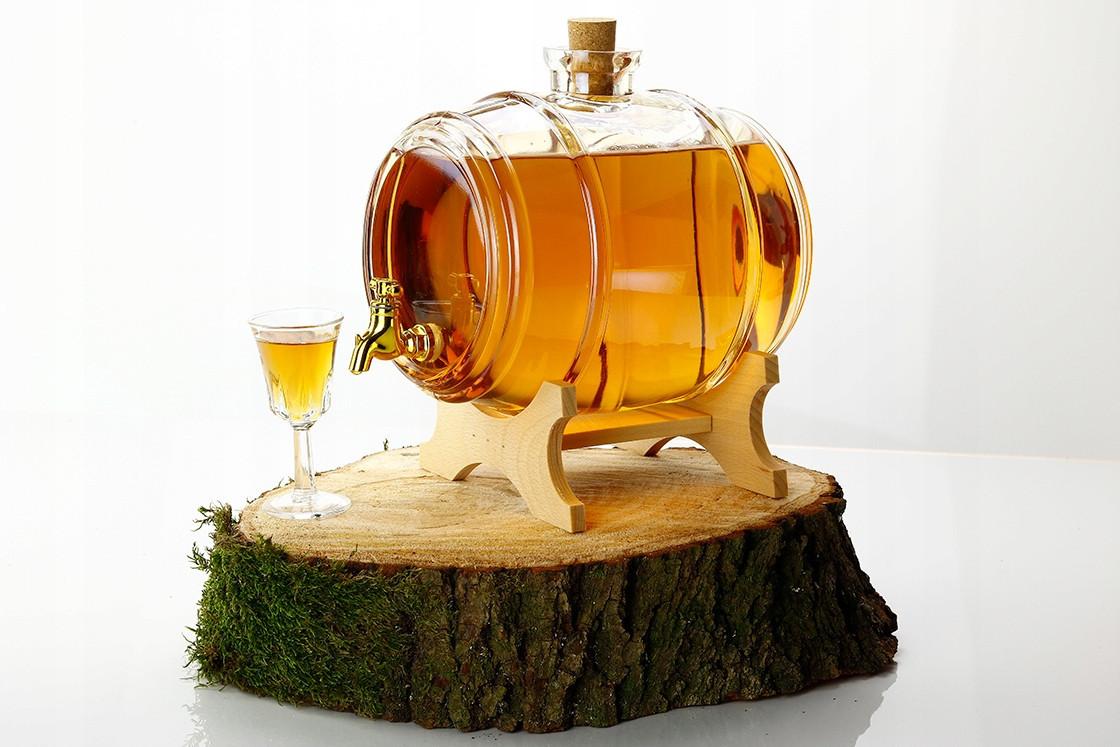 Скляна бочка 2 л із краном на дерев'яній підставці