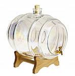 Стеклянный бочонок 10 л с краном на деревянной подставке, фото 2