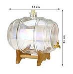 Стеклянный бочонок 10 л с краном на деревянной подставке, фото 3