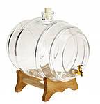 Стеклянный бочонок 10 л с краном на деревянной подставке, фото 4