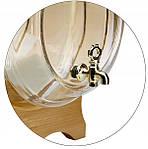 Стеклянный бочонок 10 л с краном на деревянной подставке, фото 5